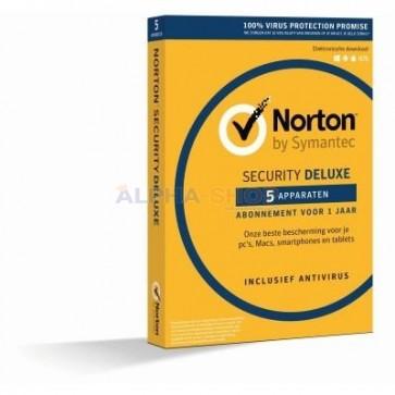 Norton Security Deluxe | 5 PC's - 1 jaar